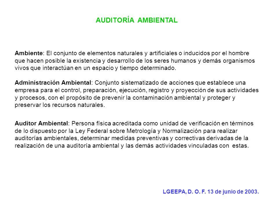 AUDITORÍA AMBIENTAL La Dirección General de Riesgo Ambiental es la entidad encargada de conducir la política del riesgo en las auditorias ambientales con fundamento en el Artículo 124 de la LGEEPA.