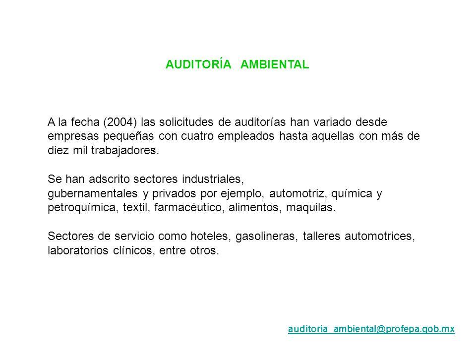 AUDITORÍA AMBIENTAL A la fecha (2004) las solicitudes de auditorías han variado desde empresas pequeñas con cuatro empleados hasta aquellas con más de