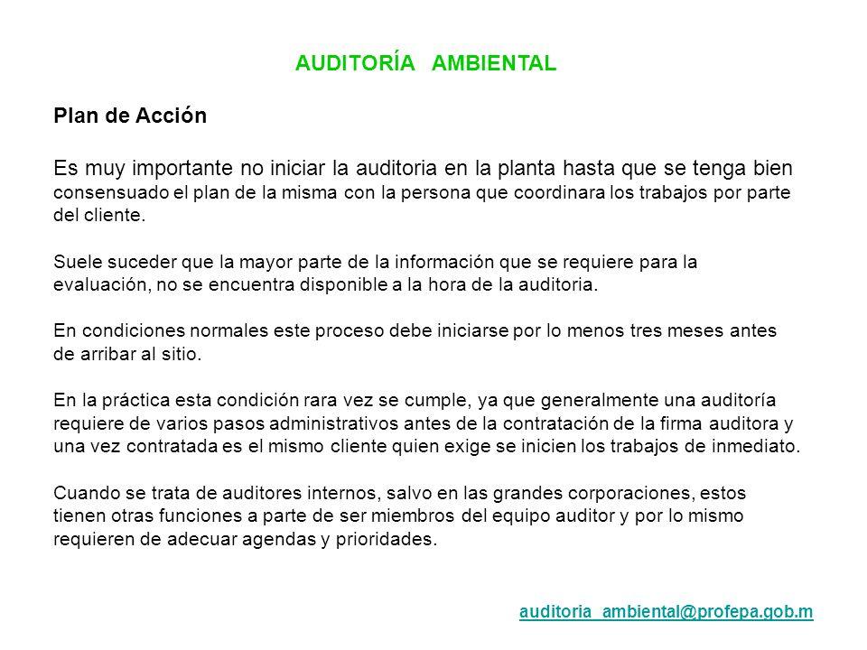 AUDITORÍA AMBIENTAL Plan de Acción Es muy importante no iniciar la auditoria en la planta hasta que se tenga bien consensuado el plan de la misma con