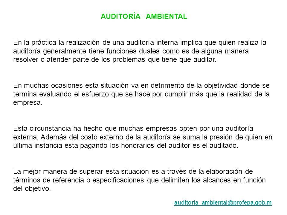 AUDITORÍA AMBIENTAL En la práctica la realización de una auditoría interna implica que quien realiza la auditoría generalmente tiene funciones duales
