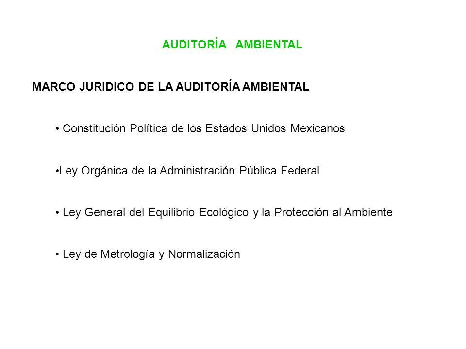 AUDITORÍA AMBIENTAL MARCO JURIDICO DE LA AUDITORÍA AMBIENTAL Constitución Política de los Estados Unidos Mexicanos Ley Orgánica de la Administración P