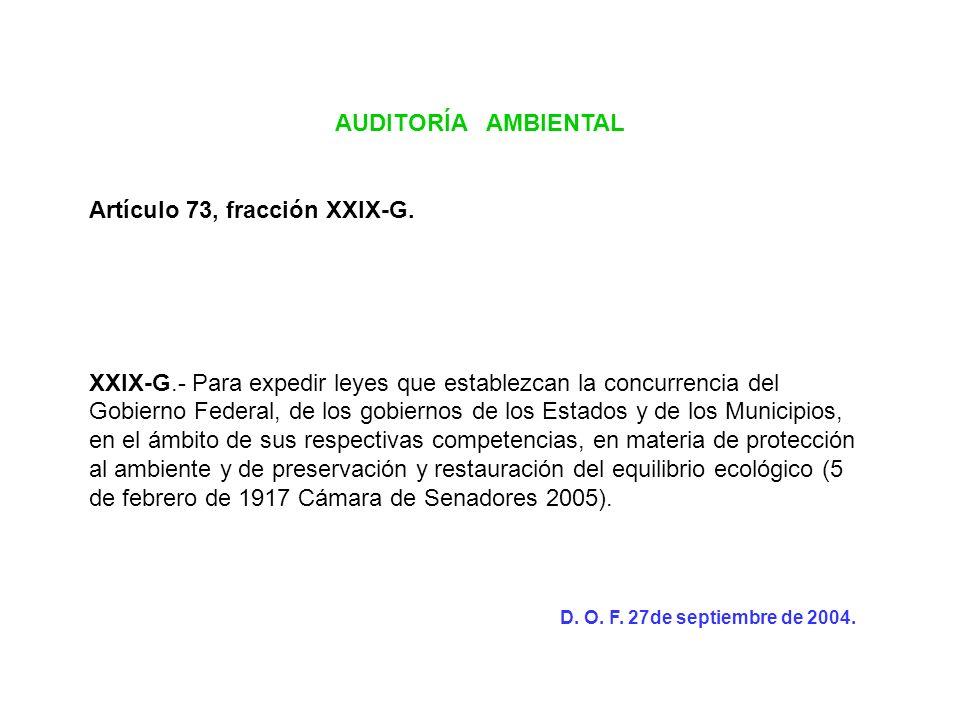 AUDITORÍA AMBIENTAL Artículo 73, fracción XXIX-G. XXIX-G.- Para expedir leyes que establezcan la concurrencia del Gobierno Federal, de los gobiernos d