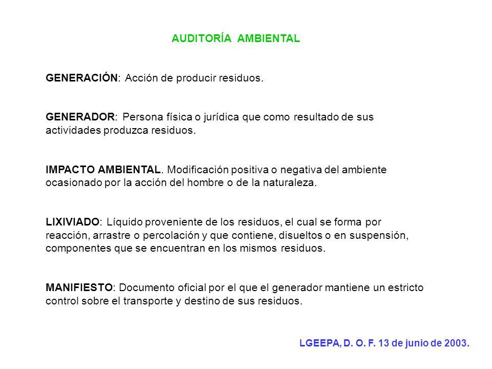 AUDITORÍA AMBIENTAL GENERACIÓN: Acción de producir residuos. GENERADOR: Persona física o jurídica que como resultado de sus actividades produzca resid