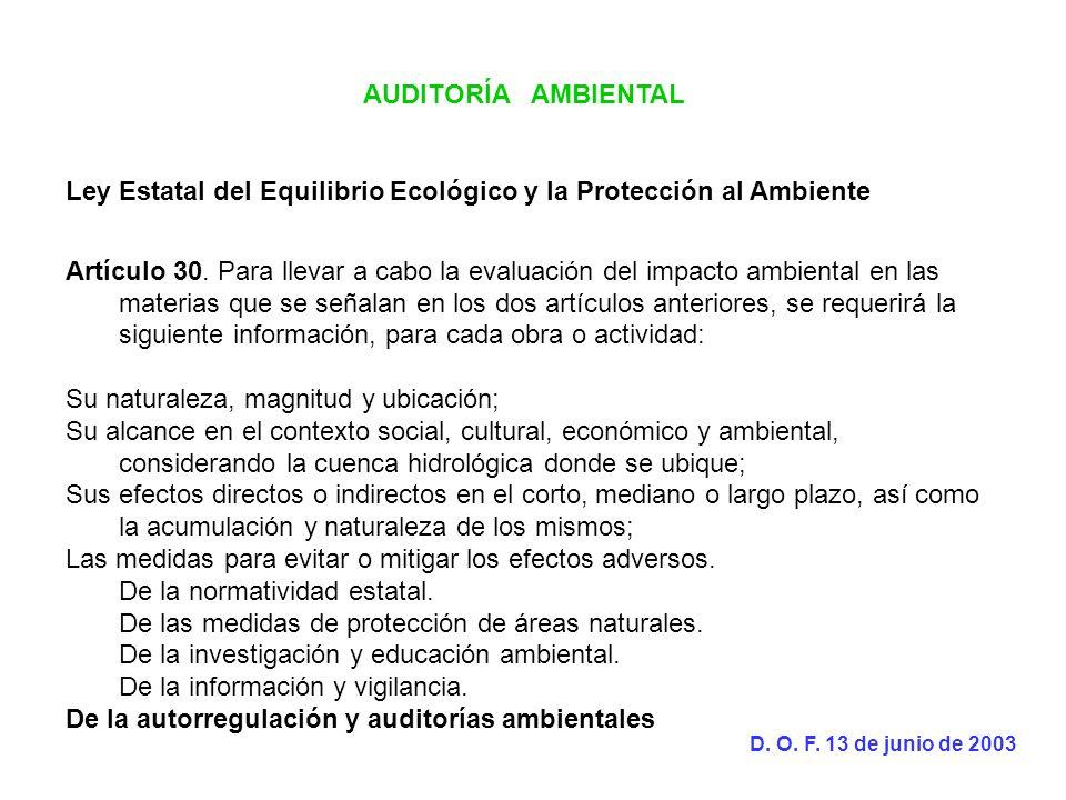 AUDITORÍA AMBIENTAL Ley Estatal del Equilibrio Ecológico y la Protección al Ambiente Artículo 30. Para llevar a cabo la evaluación del impacto ambient