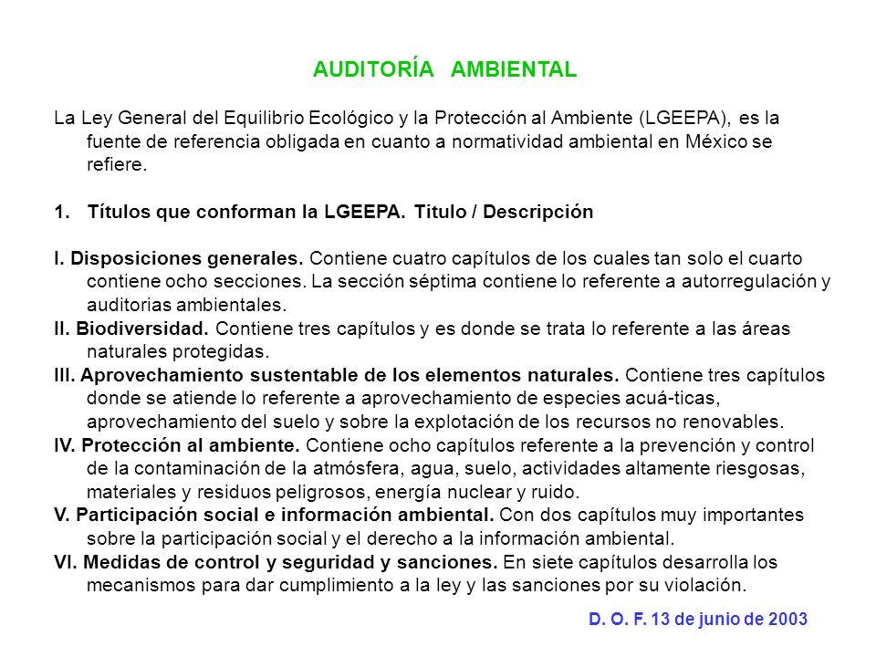 AUDITORÍA AMBIENTAL La Ley General del Equilibrio Ecológico y la Protección al Ambiente (LGEEPA), es la fuente de referencia obligada en cuanto a norm