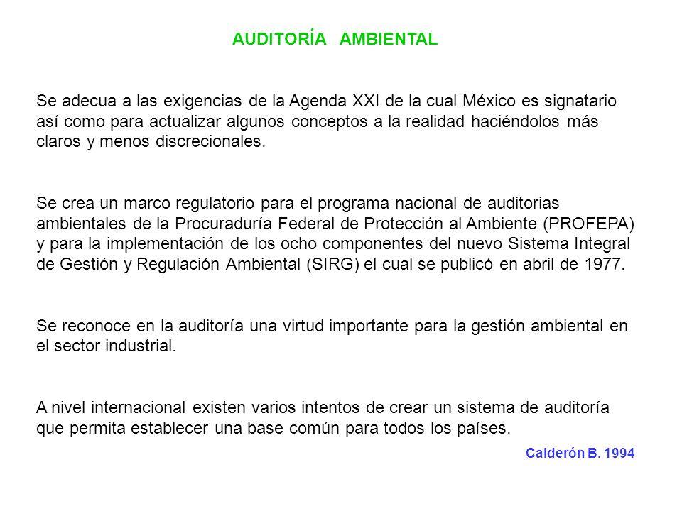 AUDITORÍA AMBIENTAL Se adecua a las exigencias de la Agenda XXI de la cual México es signatario así como para actualizar algunos conceptos a la realid