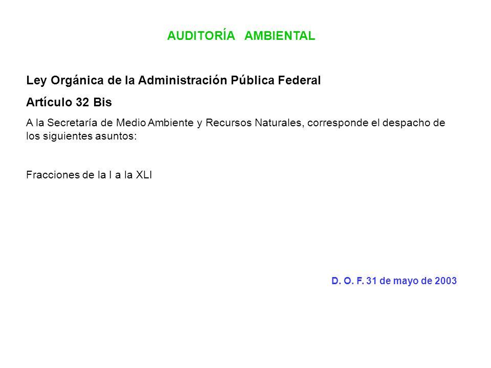 AUDITORÍA AMBIENTAL Ley Orgánica de la Administración Pública Federal Artículo 32 Bis A la Secretaría de Medio Ambiente y Recursos Naturales, correspo