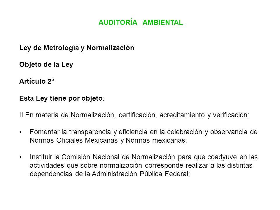 AUDITORÍA AMBIENTAL Ley de Metrología y Normalización Objeto de la Ley Artículo 2° Esta Ley tiene por objeto: II En materia de Normalización, certific
