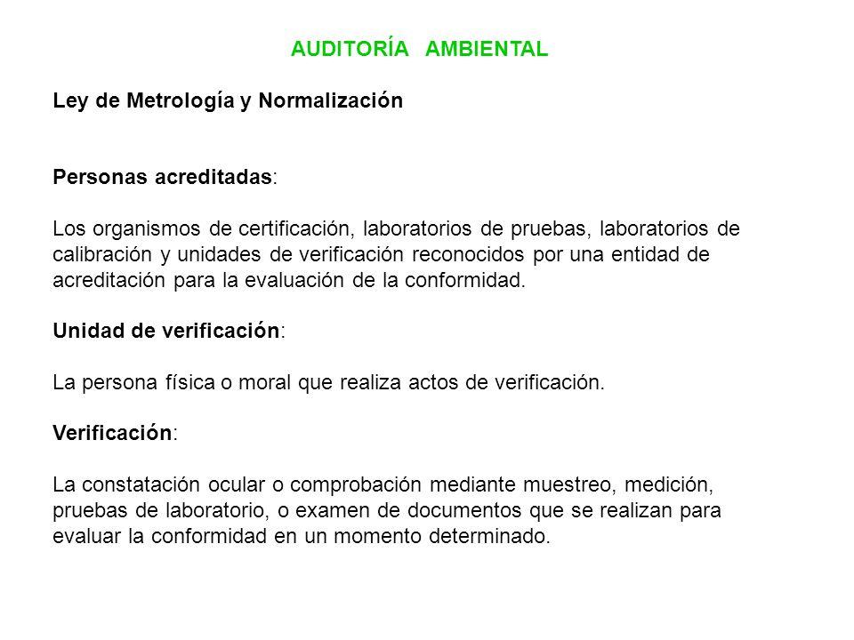AUDITORÍA AMBIENTAL Ley de Metrología y Normalización Personas acreditadas: Los organismos de certificación, laboratorios de pruebas, laboratorios de