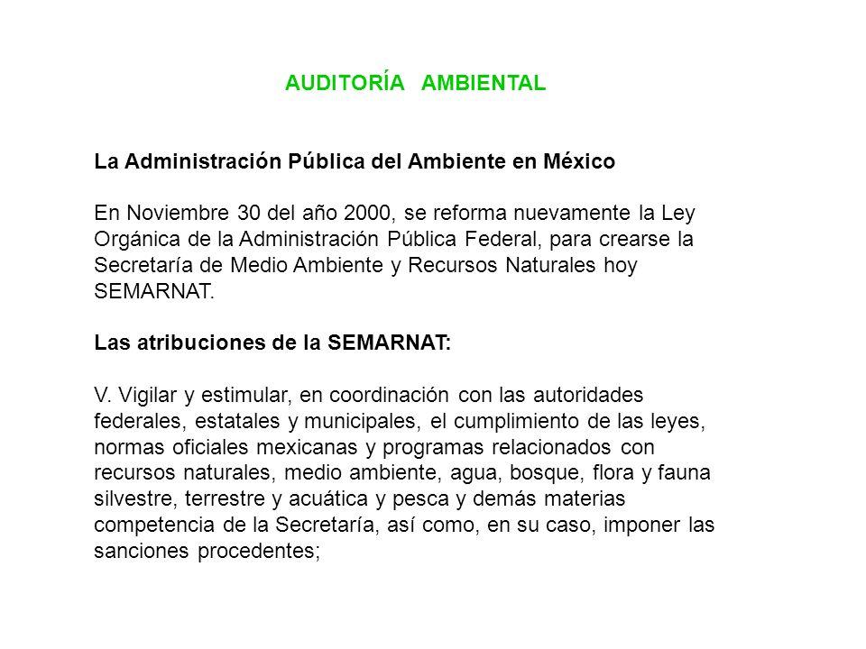 AUDITORÍA AMBIENTAL La Administración Pública del Ambiente en México En Noviembre 30 del año 2000, se reforma nuevamente la Ley Orgánica de la Adminis