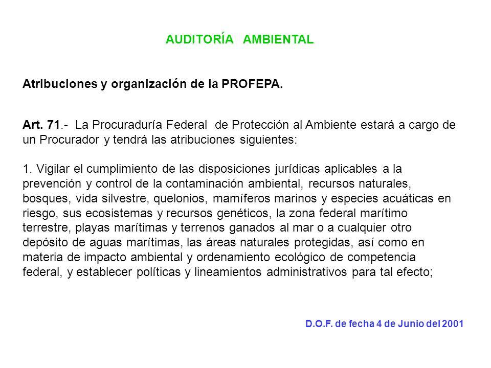 AUDITORÍA AMBIENTAL Atribuciones y organización de la PROFEPA. Art. 71.- La Procuraduría Federal de Protección al Ambiente estará a cargo de un Procur