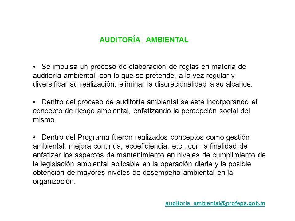 AUDITORÍA AMBIENTAL Se impulsa un proceso de elaboración de reglas en materia de auditoría ambiental, con lo que se pretende, a la vez regular y diver