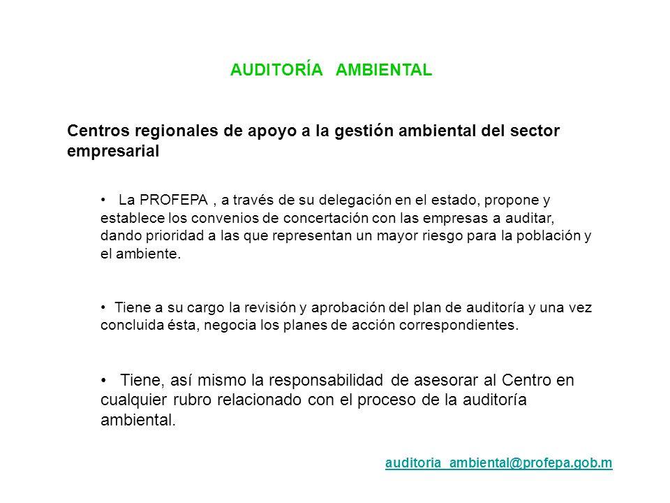 AUDITORÍA AMBIENTAL Centros regionales de apoyo a la gestión ambiental del sector empresarial La PROFEPA, a través de su delegación en el estado, prop