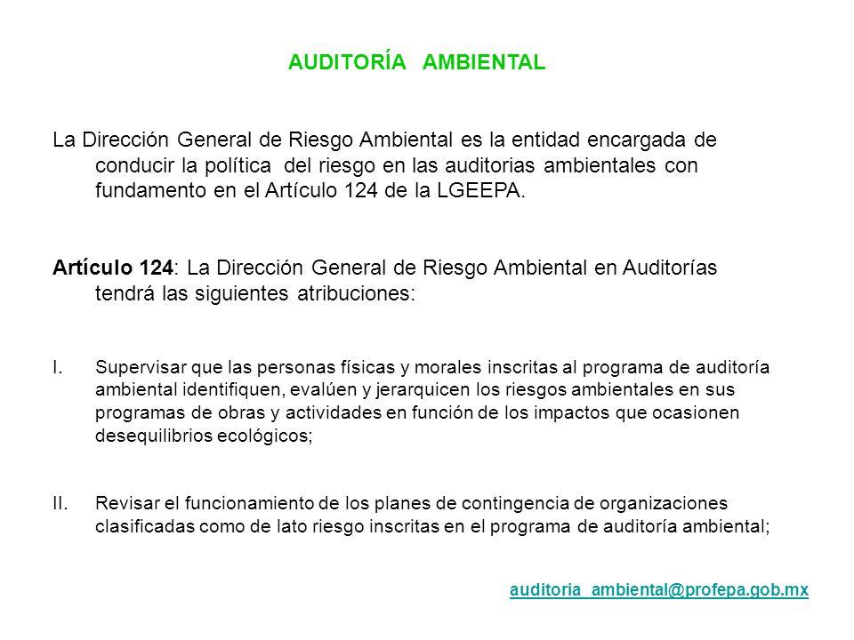 AUDITORÍA AMBIENTAL La Dirección General de Riesgo Ambiental es la entidad encargada de conducir la política del riesgo en las auditorias ambientales