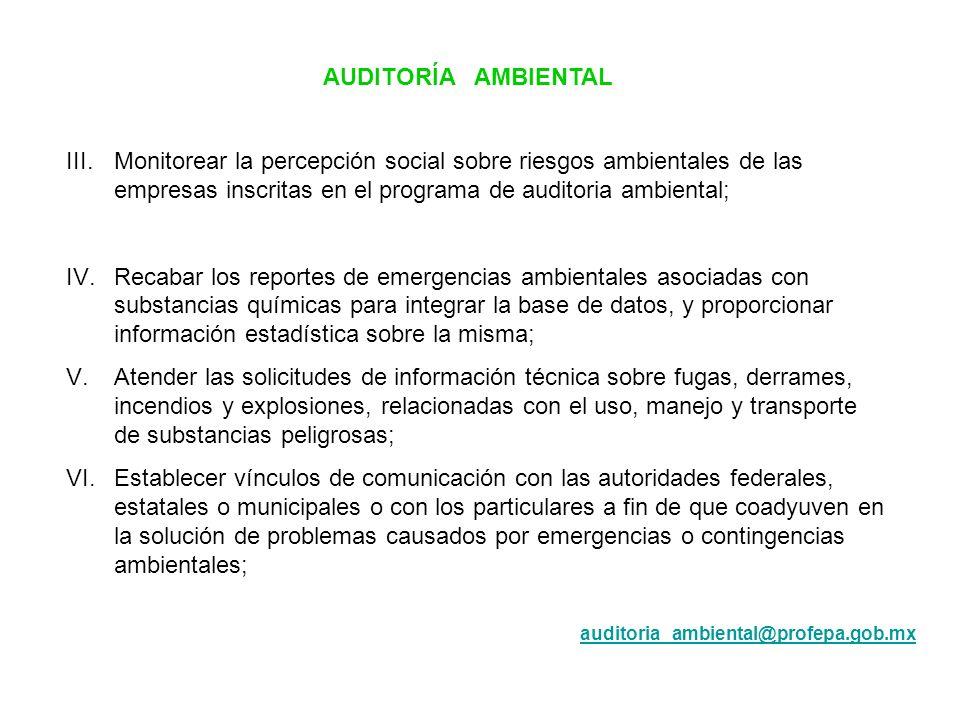 AUDITORÍA AMBIENTAL III.Monitorear la percepción social sobre riesgos ambientales de las empresas inscritas en el programa de auditoria ambiental; IV.