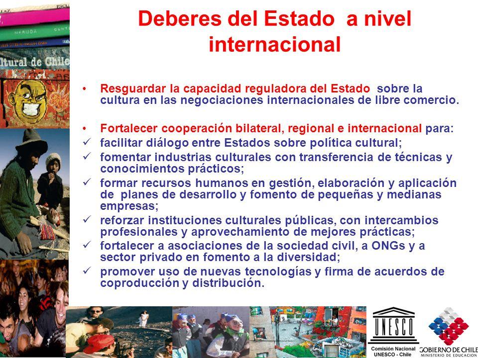 11 Deberes del Estado a nivel internacional Resguardar la capacidad reguladora del Estado sobre la cultura en las negociaciones internacionales de lib