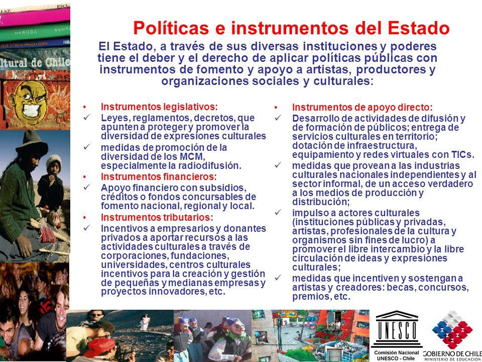12 Instrumentos legislativos: Leyes, reglamentos, decretos, que apunten a proteger y promover la diversidad de expresiones culturales medidas de promo