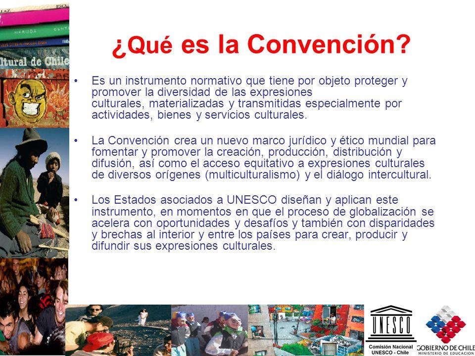 3 ¿ Qué es la Convención? Es un instrumento normativo que tiene por objeto proteger y promover la diversidad de las expresiones culturales, materializ