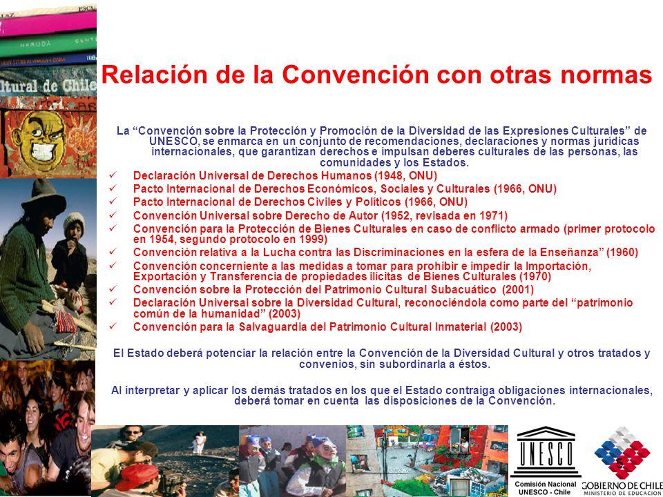 5 Relación de la Convención con otras normas La Convención sobre la Protección y Promoción de la Diversidad de las Expresiones Culturales de UNESCO, s