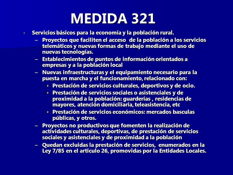 MEDIDA 321 Servicios básicos para la economía y la población rural.