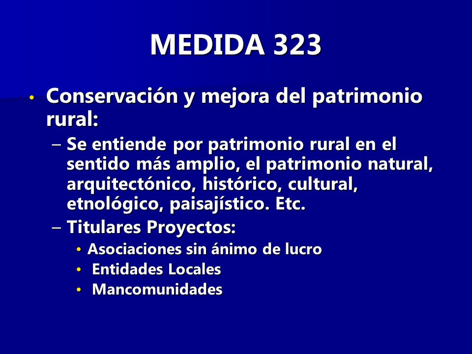 MEDIDA 323 Conservación y mejora del patrimonio rural: Conservación y mejora del patrimonio rural: –Se entiende por patrimonio rural en el sentido más amplio, el patrimonio natural, arquitectónico, histórico, cultural, etnológico, paisajístico.