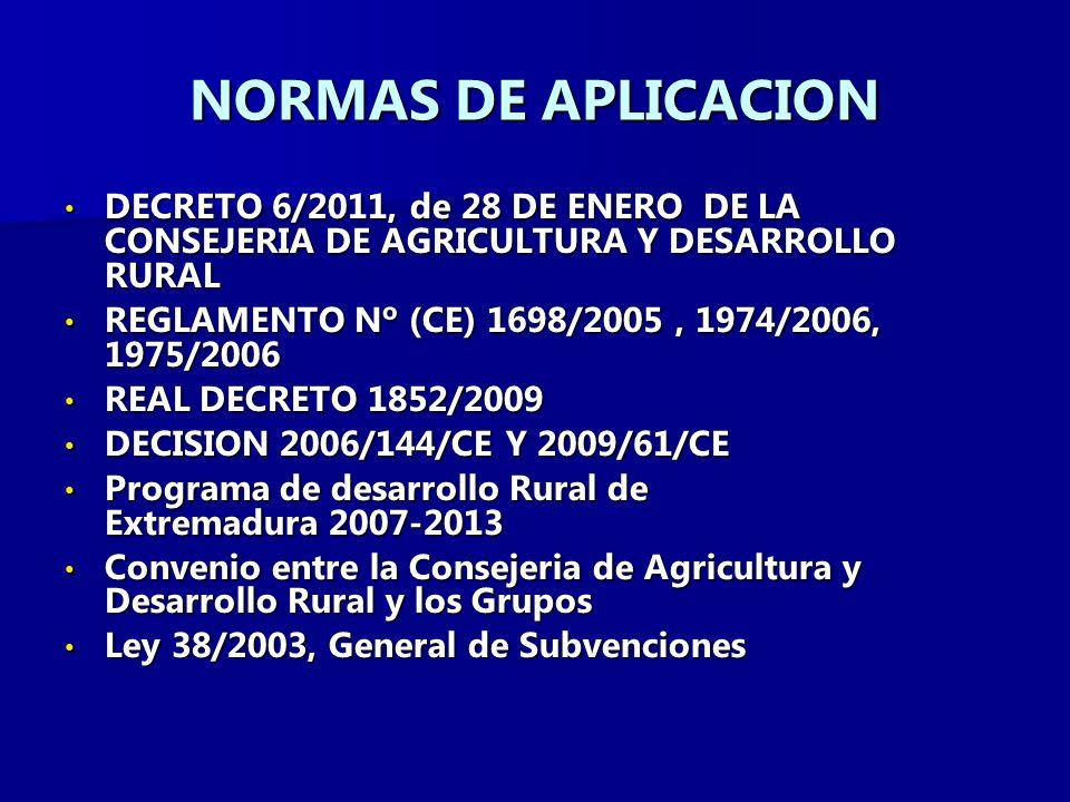 NORMAS DE APLICACION DECRETO 6/2011, de 28 DE ENERO DE LA CONSEJERIA DE AGRICULTURA Y DESARROLLO RURAL DECRETO 6/2011, de 28 DE ENERO DE LA CONSEJERIA DE AGRICULTURA Y DESARROLLO RURAL REGLAMENTO Nº (CE) 1698/2005, 1974/2006, 1975/2006 REGLAMENTO Nº (CE) 1698/2005, 1974/2006, 1975/2006 REAL DECRETO 1852/2009 REAL DECRETO 1852/2009 DECISION 2006/144/CE Y 2009/61/CE DECISION 2006/144/CE Y 2009/61/CE Programa de desarrollo Rural de Extremadura 2007-2013 Programa de desarrollo Rural de Extremadura 2007-2013 Convenio entre la Consejeria de Agricultura y Desarrollo Rural y los Grupos Convenio entre la Consejeria de Agricultura y Desarrollo Rural y los Grupos Ley 38/2003, General de Subvenciones Ley 38/2003, General de Subvenciones