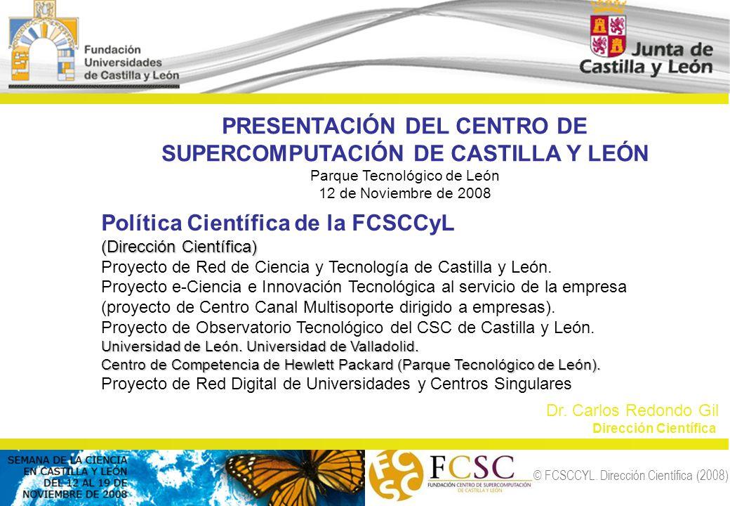 © FCSCCYL. Dirección Científica (2008) PRESENTACIÓN DEL CENTRO DE SUPERCOMPUTACIÓN DE CASTILLA Y LEÓN Parque Tecnológico de León 12 de Noviembre de 20