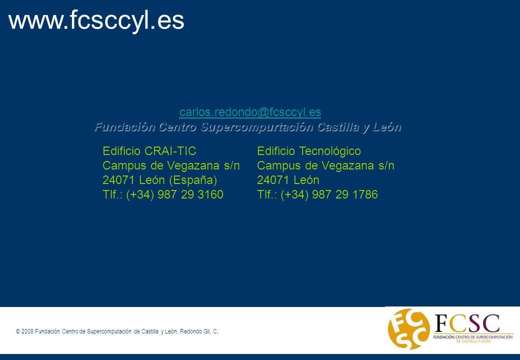 © FCSCCYL. Dirección Científica (2008) www.fcsccyl.es carlos.redondo@fcsccyl.es Fundación Centro Supercompurtación Castilla y León © 2008 Fundación Ce