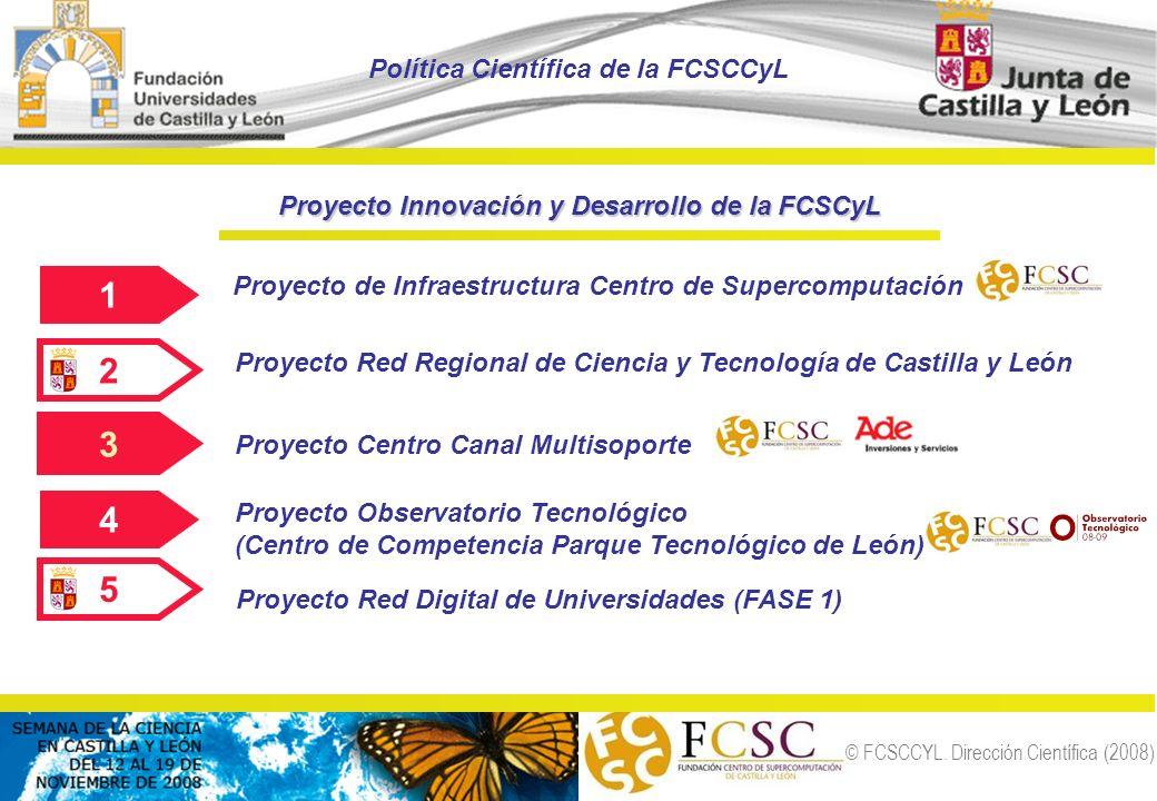 © FCSCCYL. Dirección Científica (2008) 1 Proyecto de Infraestructura Centro de Supercomputación 2 Proyecto Red Regional de Ciencia y Tecnología de Cas