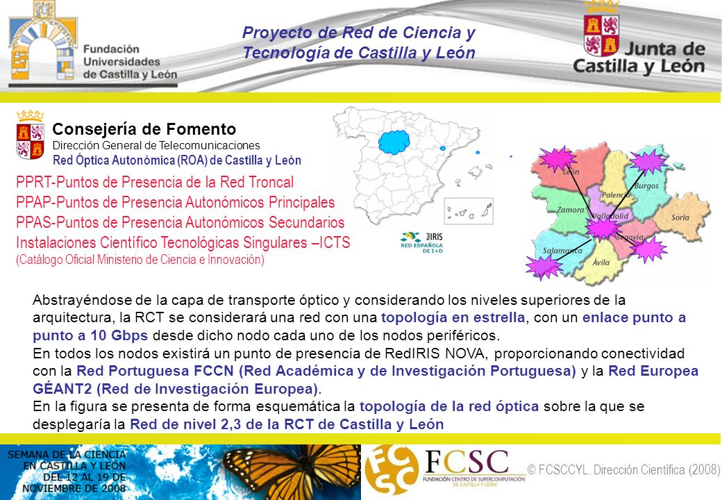 © FCSCCYL. Dirección Científica (2008) Abstrayéndose de la capa de transporte óptico y considerando los niveles superiores de la arquitectura, la RCT