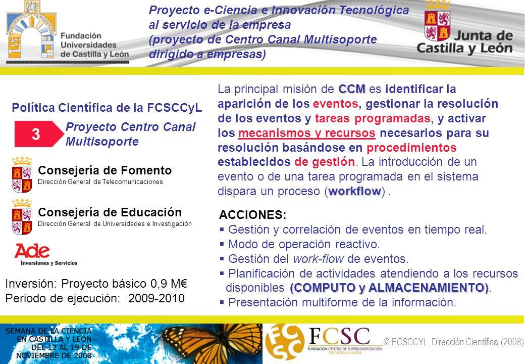 © FCSCCYL. Dirección Científica (2008) Política Científica de la FCSCCyL Proyecto Centro Canal Multisoporte Inversión: Proyecto básico 0,9 M Periodo d