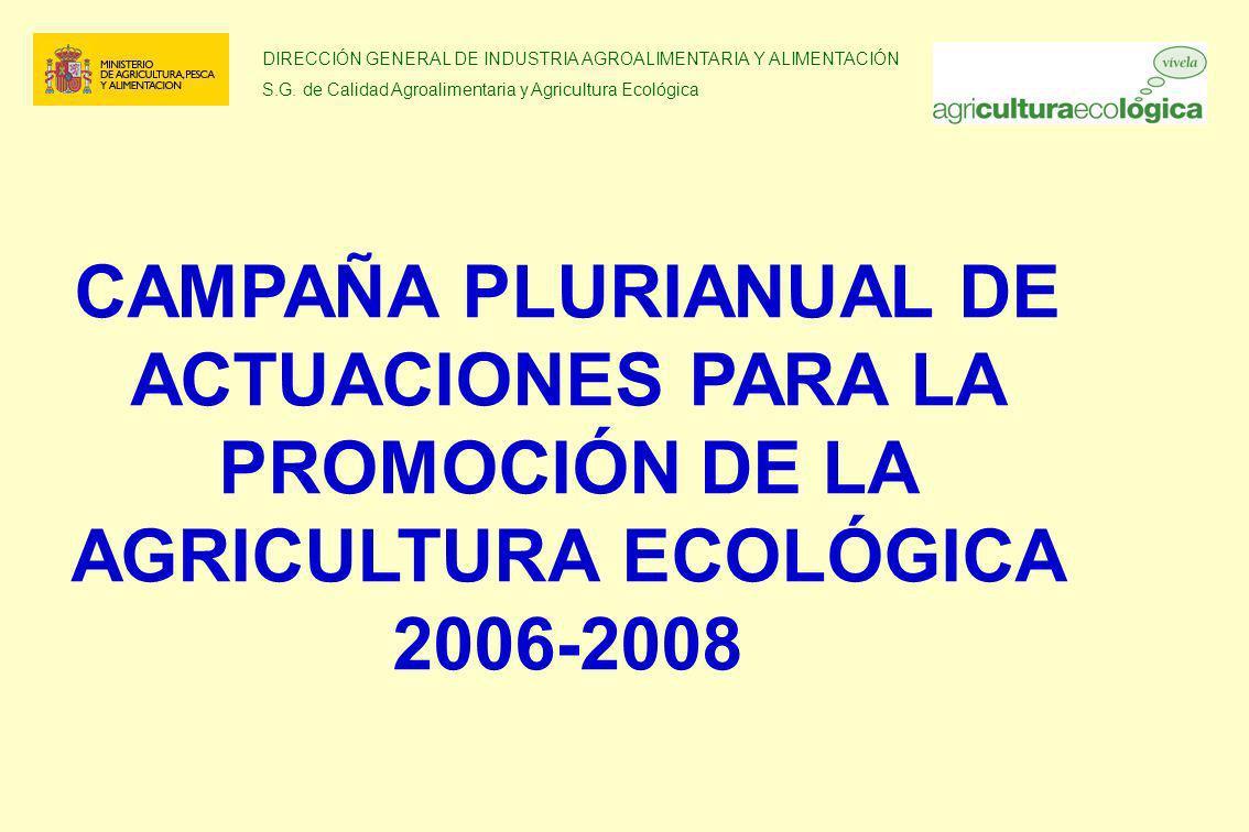 DIRECCIÓN GENERAL DE INDUSTRIA AGROALIMENTARIA Y ALIMENTACIÓN S.G. de Calidad Agroalimentaria y Agricultura Ecológica CAMPAÑA PLURIANUAL DE ACTUACIONE