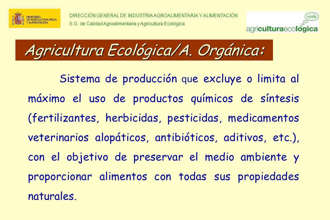DIRECCIÓN GENERAL DE INDUSTRIA AGROALIMENTARIA Y ALIMENTACIÓN S.G. de Calidad Agroalimentaria y Agricultura Ecológica Sistema de producción qu e exclu