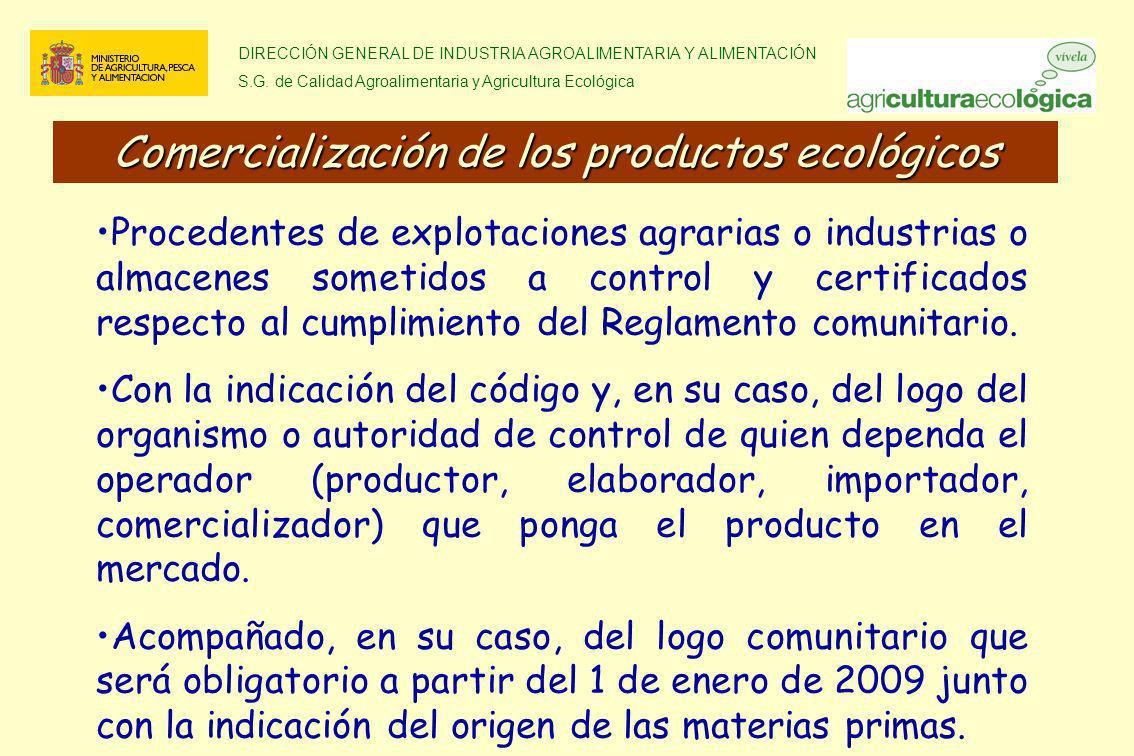 DIRECCIÓN GENERAL DE INDUSTRIA AGROALIMENTARIA Y ALIMENTACIÓN S.G. de Calidad Agroalimentaria y Agricultura Ecológica Procedentes de explotaciones agr