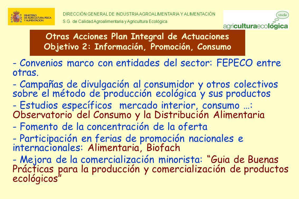 DIRECCIÓN GENERAL DE INDUSTRIA AGROALIMENTARIA Y ALIMENTACIÓN S.G. de Calidad Agroalimentaria y Agricultura Ecológica - Convenios marco con entidades