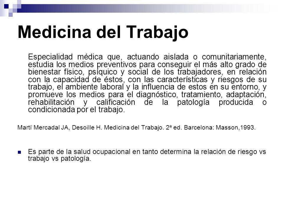 Medicina del Trabajo Especialidad médica que, actuando aislada o comunitariamente, estudia los medios preventivos para conseguir el más alto grado de