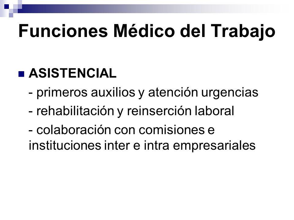 Funciones Médico del Trabajo ASISTENCIAL - primeros auxilios y atención urgencias - rehabilitación y reinserción laboral - colaboración con comisiones