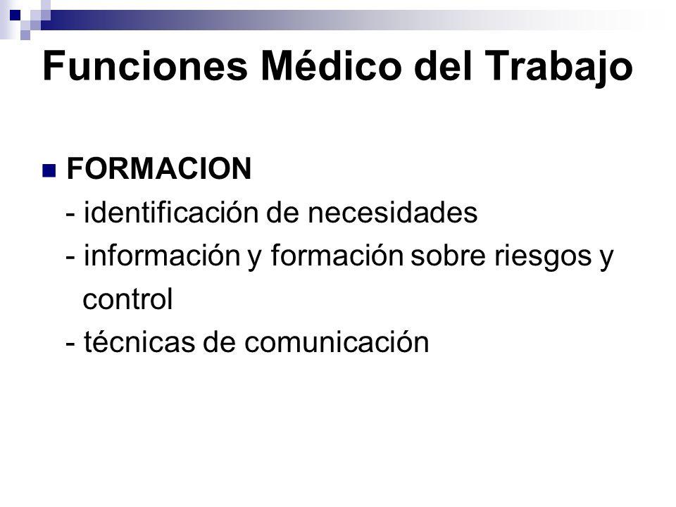 Funciones Médico del Trabajo FORMACION - identificación de necesidades - información y formación sobre riesgos y control - técnicas de comunicación