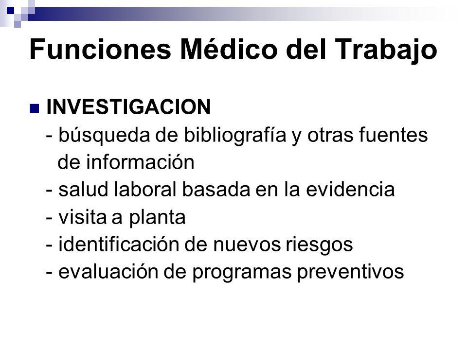 Funciones Médico del Trabajo INVESTIGACION - búsqueda de bibliografía y otras fuentes de información - salud laboral basada en la evidencia - visita a