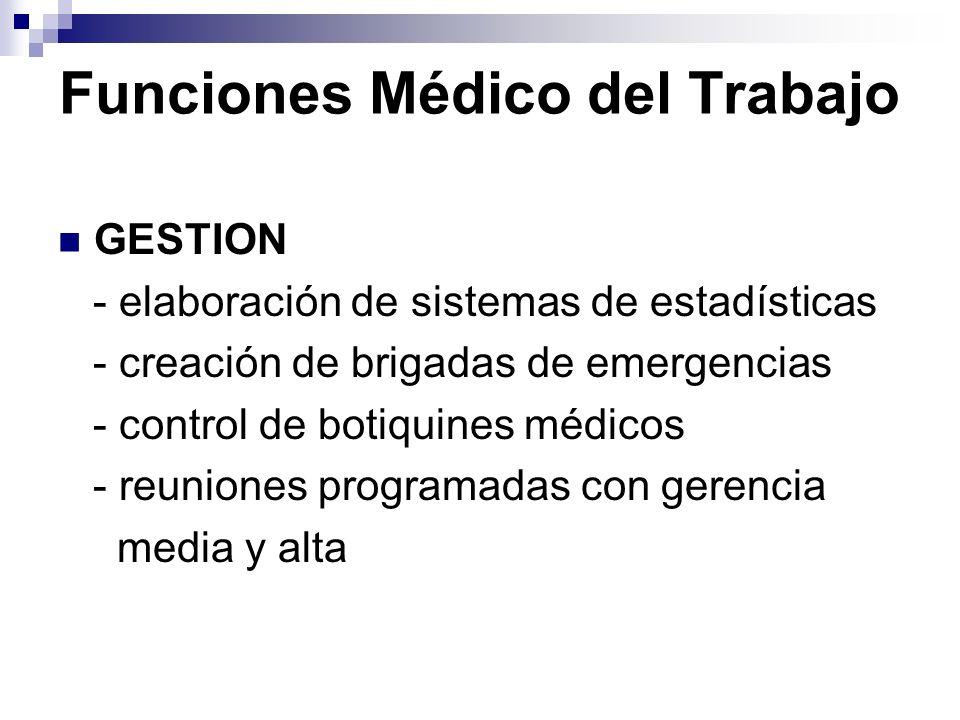 Funciones Médico del Trabajo GESTION - elaboración de sistemas de estadísticas - creación de brigadas de emergencias - control de botiquines médicos -