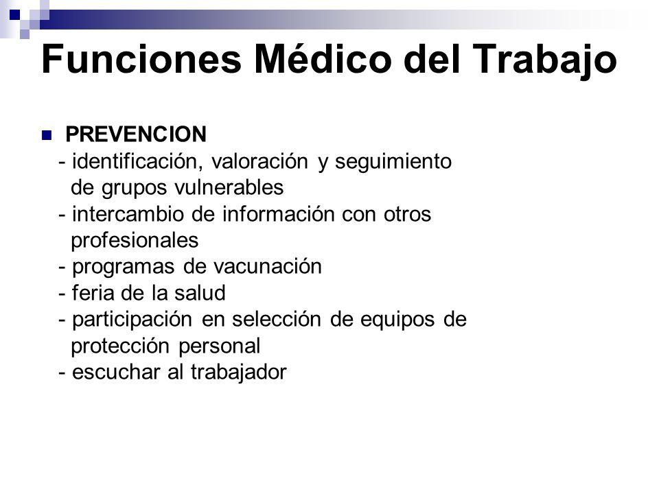 Funciones Médico del Trabajo PREVENCION - identificación, valoración y seguimiento de grupos vulnerables - intercambio de información con otros profes