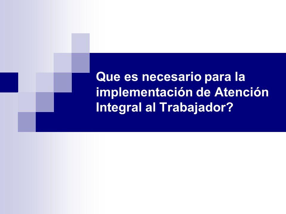 Que es necesario para la implementación de Atención Integral al Trabajador?