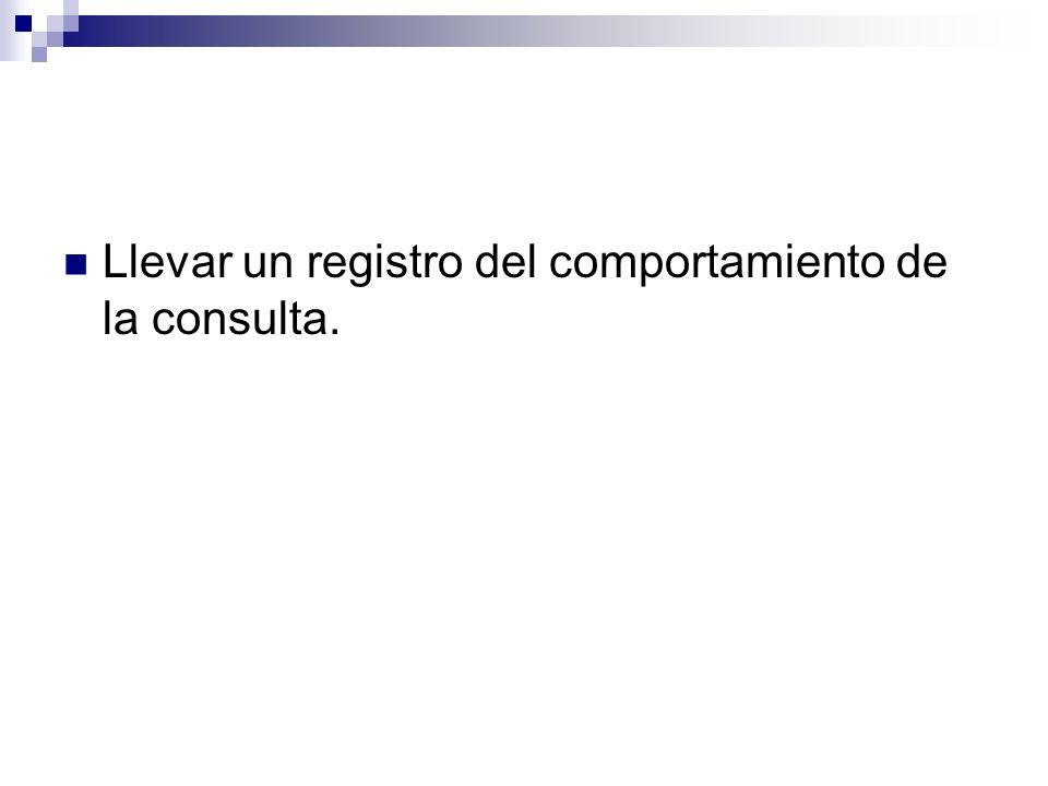Llevar un registro del comportamiento de la consulta.