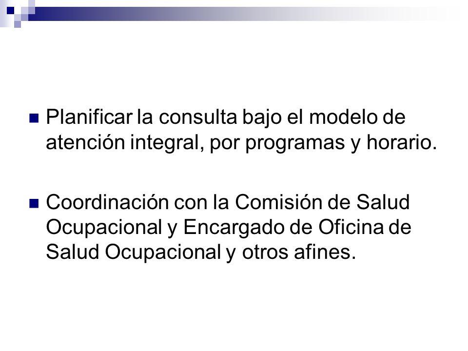 Planificar la consulta bajo el modelo de atención integral, por programas y horario. Coordinación con la Comisión de Salud Ocupacional y Encargado de
