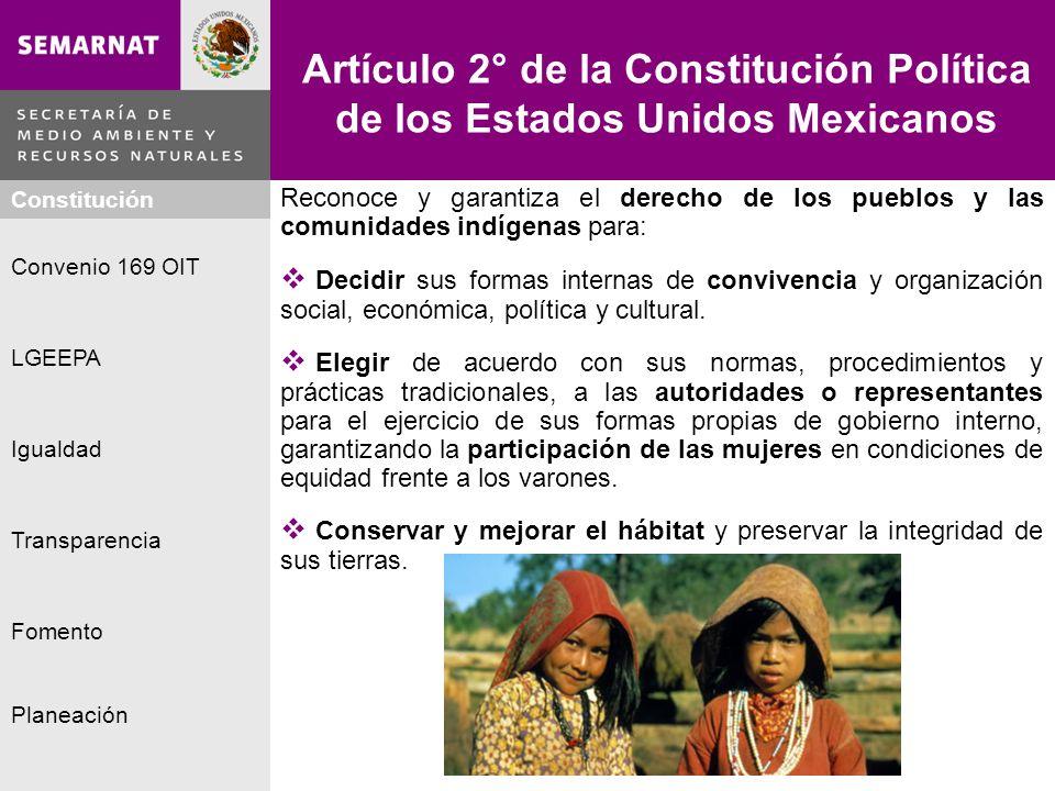 Planeación Igualdad Fomento LGEEPA Constitución Convenio 169 OIT Transparencia Artículo 2° de la Constitución Política de los Estados Unidos Mexicanos