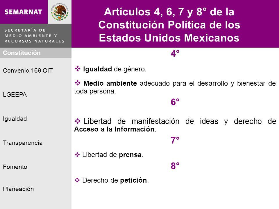 Planeación Igualdad Fomento LGEEPA Constitución Convenio 169 OIT Transparencia Artículos 4, 6, 7 y 8° de la Constitución Política de los Estados Unido