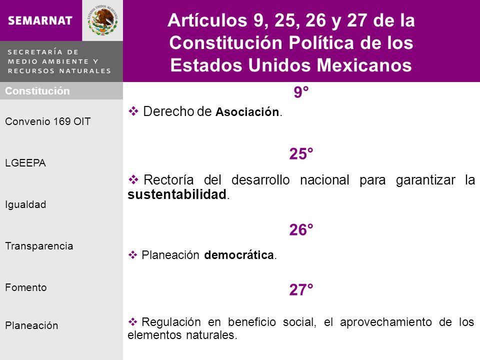 Planeación Igualdad Fomento LGEEPA Constitución Convenio 169 OIT Transparencia Artículos 9, 25, 26 y 27 de la Constitución Política de los Estados Uni