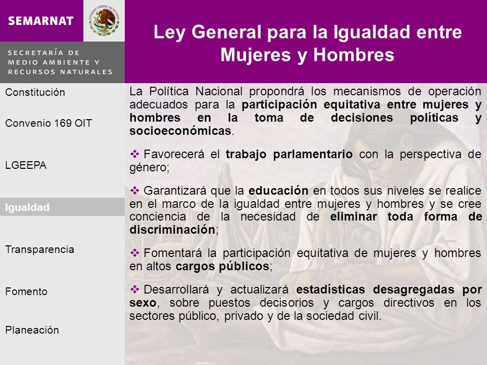 Planeación Igualdad Fomento LGEEPA Constitución Convenio 169 OIT Transparencia Ley General para la Igualdad entre Mujeres y Hombres Igualdad Lo malo L