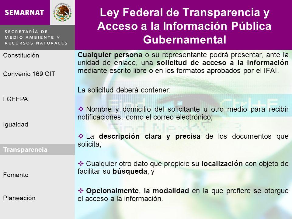 Planeación Igualdad Fomento LGEEPA Constitución Convenio 169 OIT Transparencia Ley Federal de Transparencia y Acceso a la Información Pública Gubernam