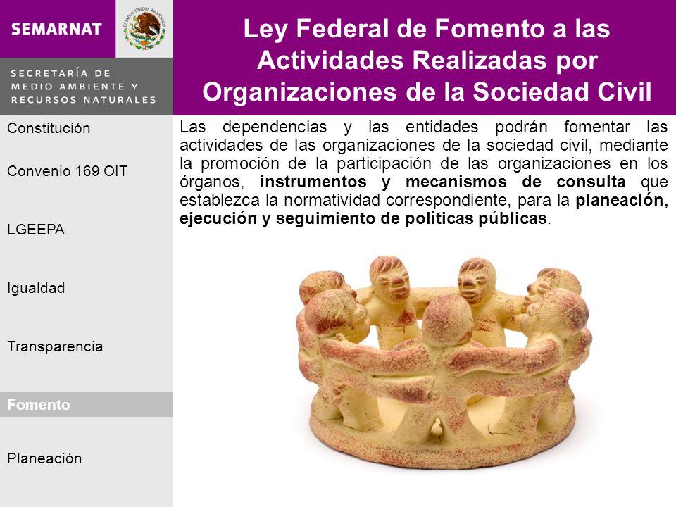 Planeación Igualdad Fomento LGEEPA Constitución Convenio 169 OIT Transparencia Ley Federal de Fomento a las Actividades Realizadas por Organizaciones